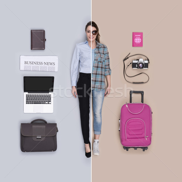 Lifelike female doll comparison: businesswoman and traveler Stock photo © stokkete