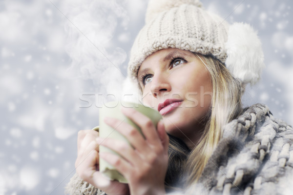 Сток-фото: красивой · питьевой · кофе · чай