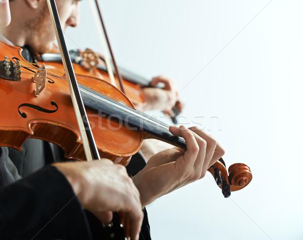 Klasszikus zene koncert hegedűművész játszik kezek közelkép Stock fotó © stokkete