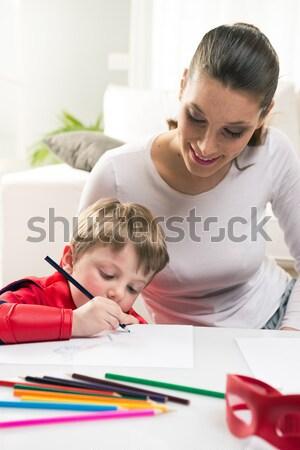 играет обучения вместе матери superhero ребенка Сток-фото © stokkete