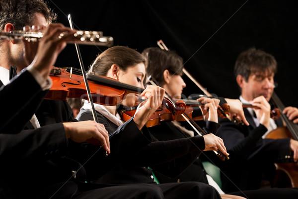 Klasszikus zene koncert szimfónia zenekar színpad cselló Stock fotó © stokkete