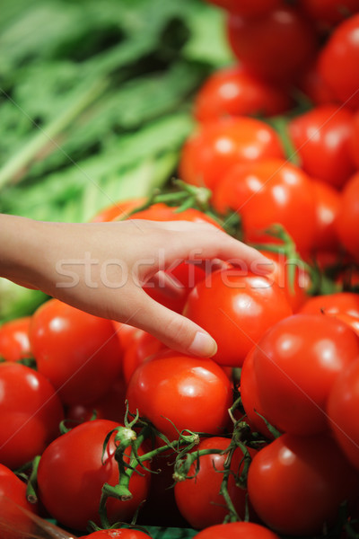 Paradicsomok piac nő vásárlás friss zöldségek áruház Stock fotó © stokkete
