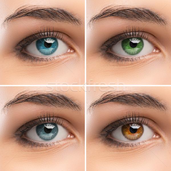 Szett szemek női színes közelkép néz Stock fotó © stokkete