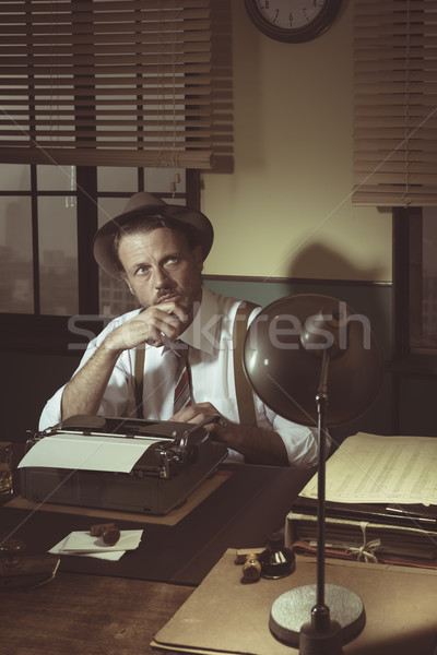 Stock photo: Retro writer looking for inspiration