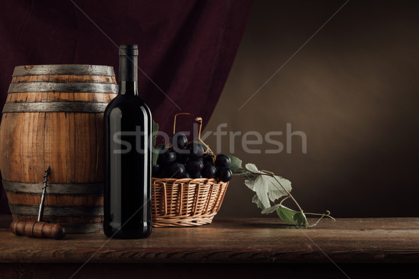 Wine tasting and fruit still life Stock photo © stokkete