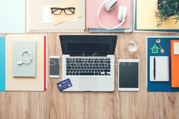 Stockfoto: Business · desktop · creditcard · laptop · digitale · tablet
