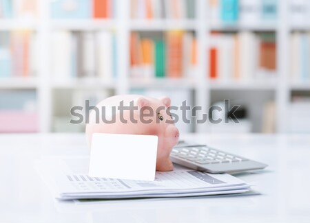 экономия банковской инвестиции Piggy Bank кредитных карт калькулятор Сток-фото © stokkete