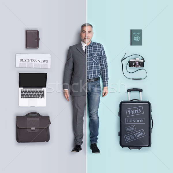 Lifelike male dolls comparison: business executive and traveler Stock photo © stokkete
