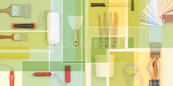 Csináld magad szerszámok mozaik rendbehoz dekoráció ecset Stock fotó © stokkete