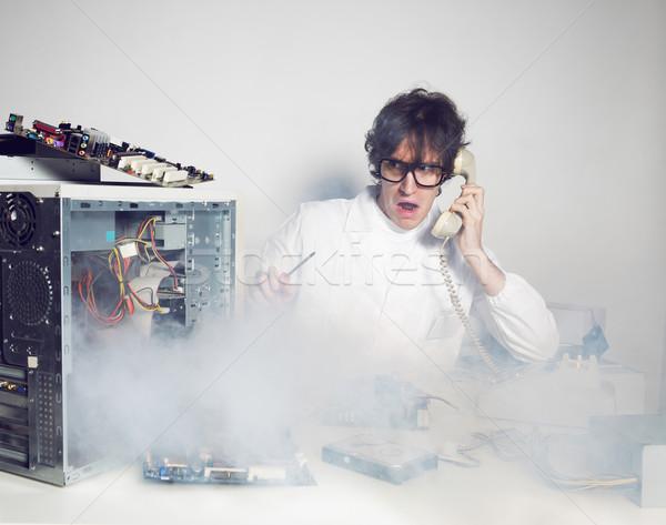 Computador problema técnico laboratório falante telefone Foto stock © stokkete