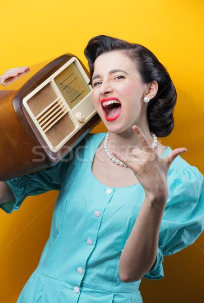 Kaya rulo Retro kadın müzik Stok fotoğraf © stokkete