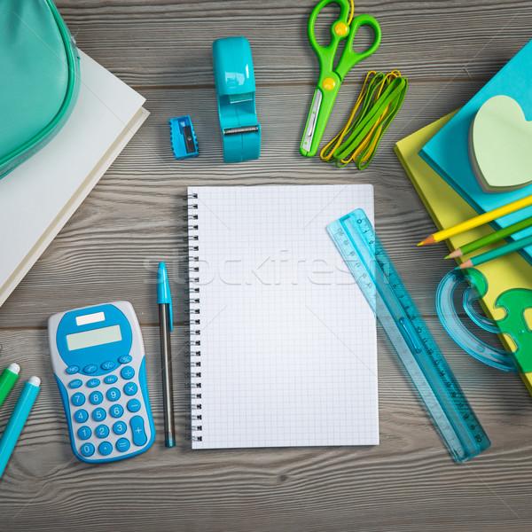 Open notebook kleurrijk schrijfbehoeften spiraal school Stockfoto © stokkete