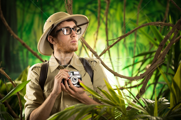 Jovem fotógrafo selva explorador fotos Foto stock © stokkete