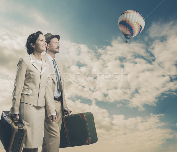 Vintage couple leaving for vacations Stock photo © stokkete
