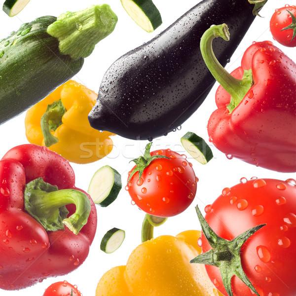 新鮮蔬菜 新鮮 健康 蔬菜 落下 白 商業照片 © stokkete