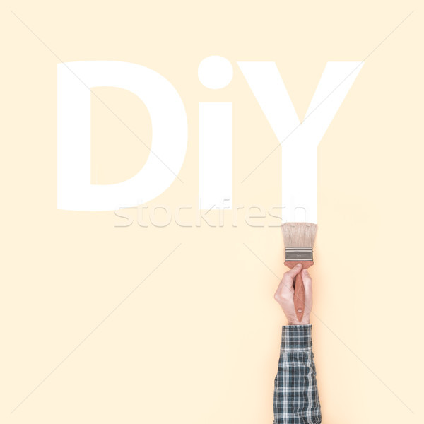 Decorator painting DIY on a wall Stock photo © stokkete