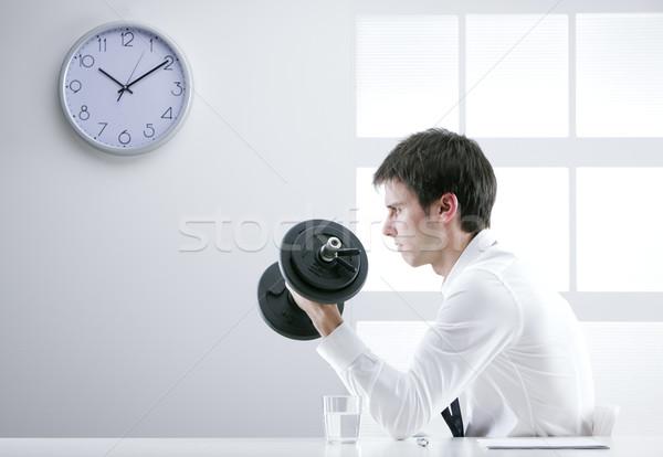 強い ビジネスマン 小さな 訓練 ダンベル ビジネス ストックフォト © stokkete