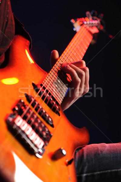 Guitarrista rocha guitarrista música jogar atuação Foto stock © stokkete