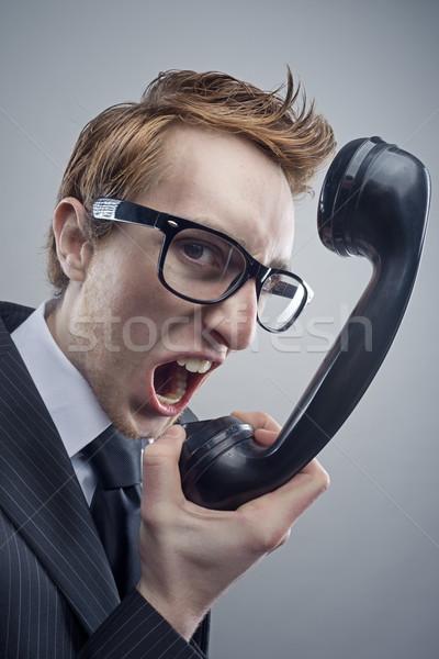 Stock photo: Angry nerd businessman