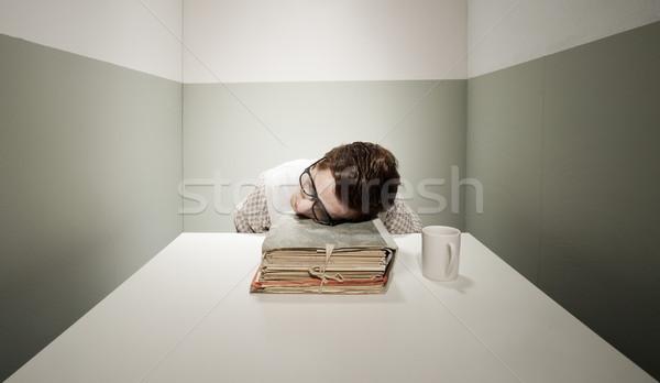 Elvesz törik fiatal stréber fickó alszik Stock fotó © stokkete