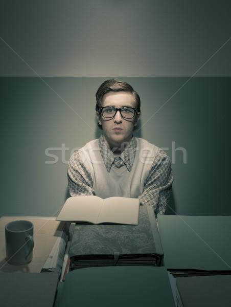 Inek öğrenci adam büro genç küçük üzücü Stok fotoğraf © stokkete