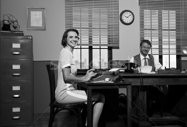 Lächelnd Direktor Sekretär Arbeit arbeiten Büro Stock foto © stokkete