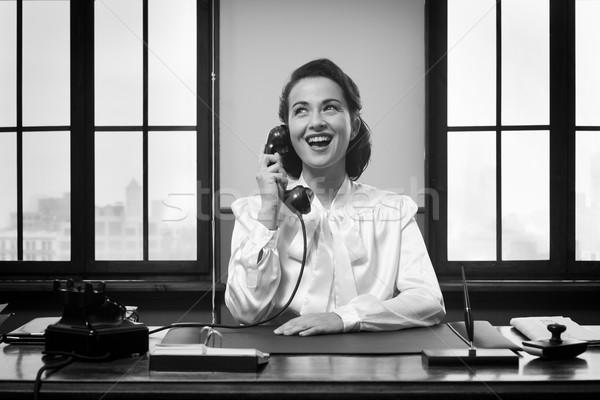 Uśmiechnięty recepcjonista pracy vintage pracy Zdjęcia stock © stokkete