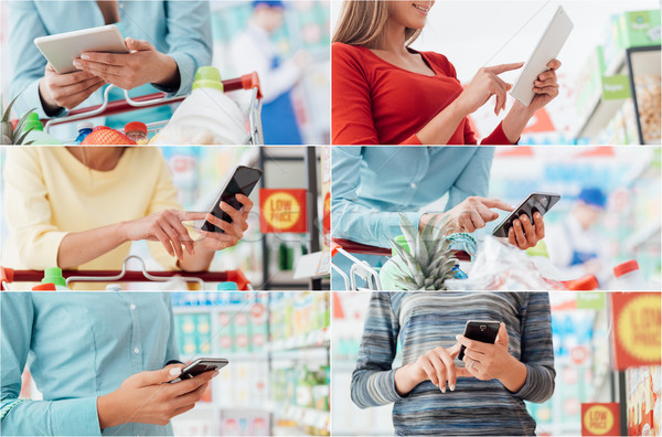 People using shopping apps Stock photo © stokkete