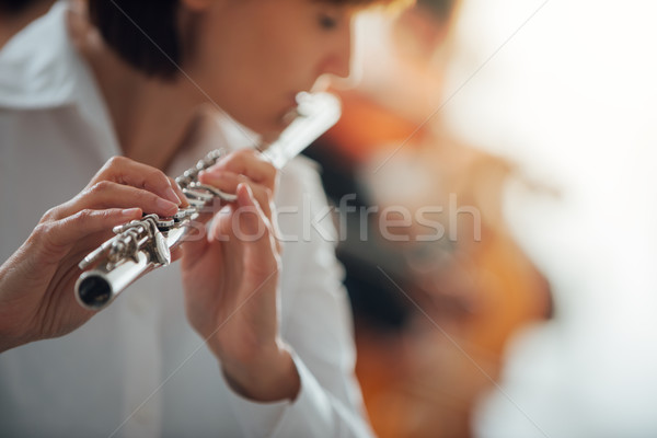 Professional flute player performing Stock photo © stokkete