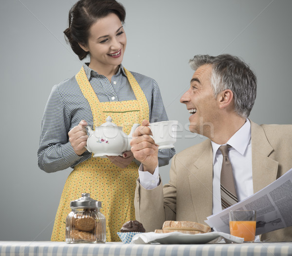 1950s style couple having breakfast Stock photo © stokkete