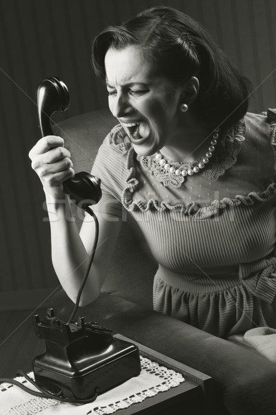 Stockfoto: Boos · vrouw · schreeuwen · retro · telefoon
