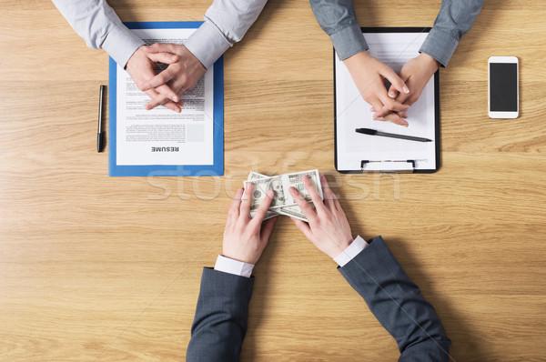 Jelölt munkáltató állásinterjú korrupció felső kilátás Stock fotó © stokkete