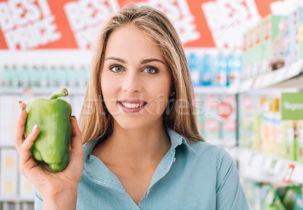 Stock foto: Gesunden · frische · Lebensmittel · lächelnd · Warenkorb · Supermarkt