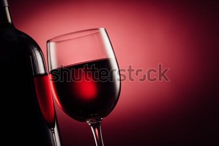 Vörösbor üveg borospohár kóstolás luxus ünneplés Stock fotó © stokkete