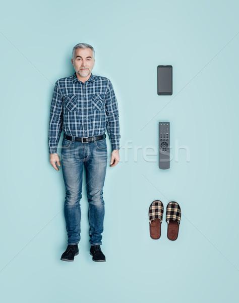 мужчины кукла отдыха расслабиться смартфон Сток-фото © stokkete