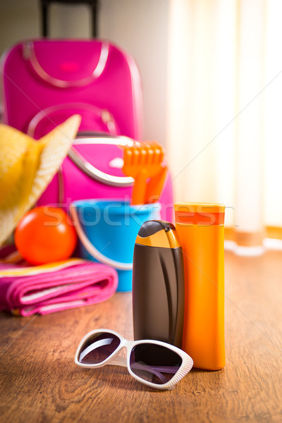 Stock photo: Summer vacations packing