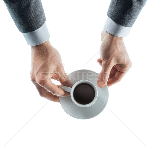 Stockfoto: Zakenman · koffiepauze · professionele · beker · espresso