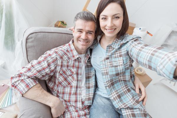 Couple taking selfies Stock photo © stokkete