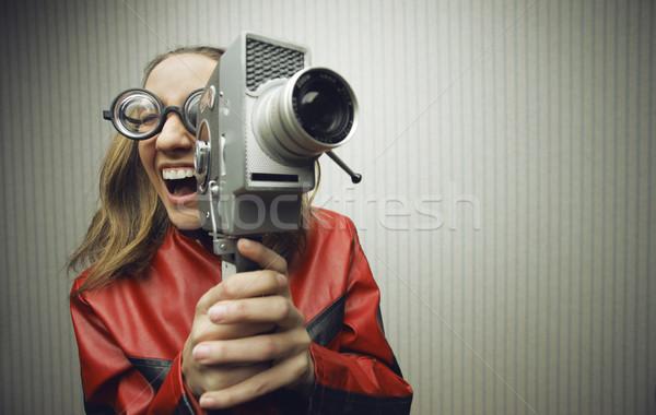 Komik film kadın eski moda gözlük portre Stok fotoğraf © stokkete