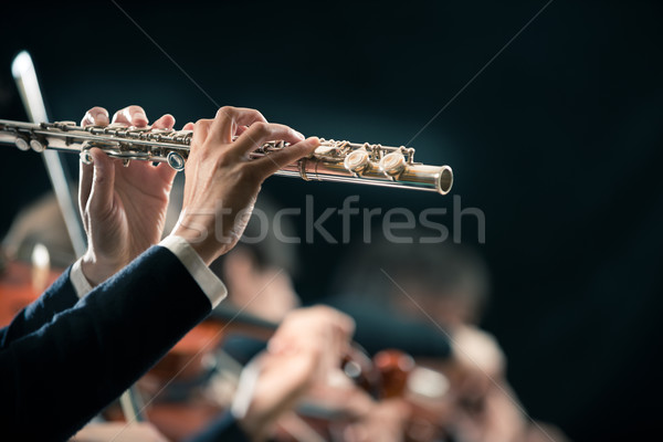 Symphony orchestra performance: flutist close-up Stock photo © stokkete