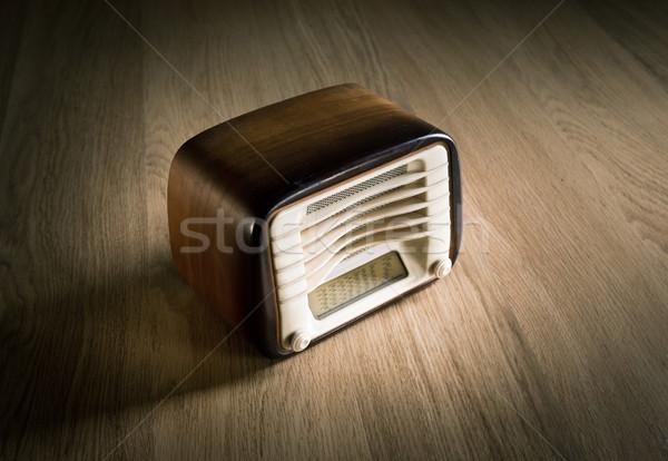 Vintage radio bureau houten muziek Stockfoto © stokkete
