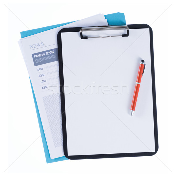 Financial report and clipboard Stock photo © stokkete