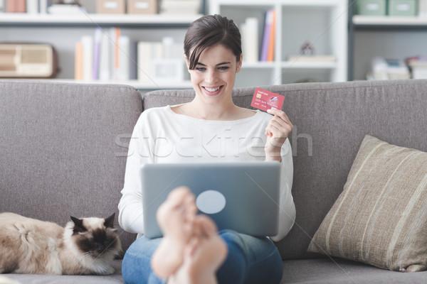 Woman shopping online Stock photo © stokkete