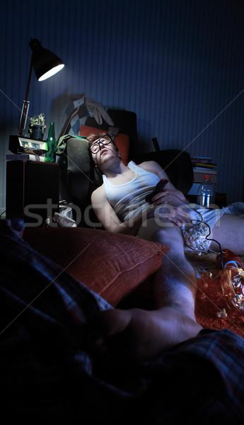 Kac facet bielizna leży student okulary Zdjęcia stock © stokkete