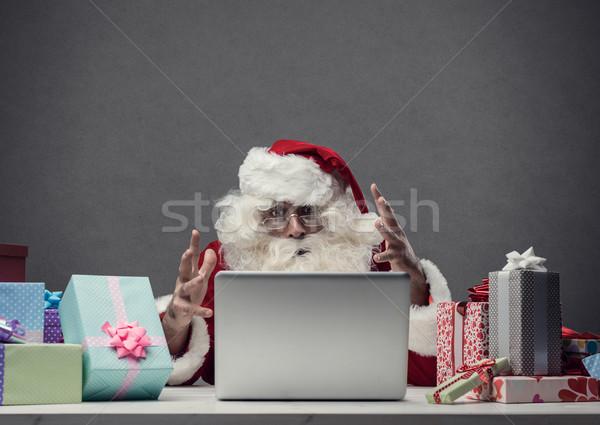 Komputera crash christmas zły Święty mikołaj Zdjęcia stock © stokkete