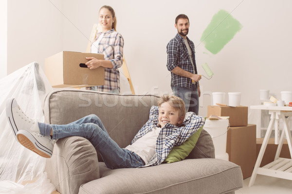 Family moving into a new apartment Stock photo © stokkete