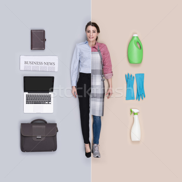 Lifelike female doll comparison: businesswoman and hosewife Stock photo © stokkete