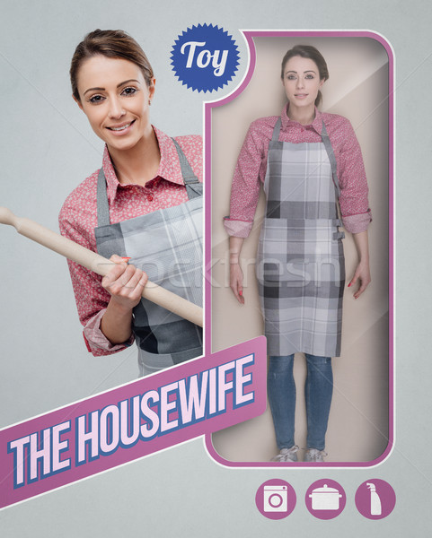 Hausfrau realistisch Puppe Spielzeug sehen Verpackung Stock foto © stokkete
