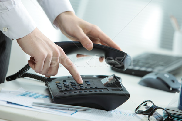 Stockfoto: Business · telefoon · afbeelding · bureau · hand