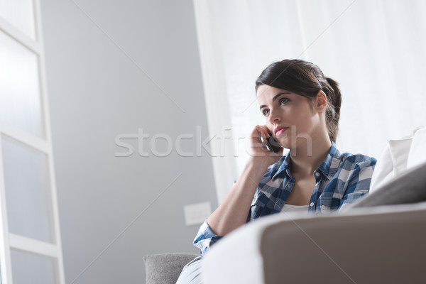 Woman on the phone Stock photo © stokkete